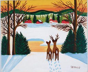 Maudie-painting-deer-sunset